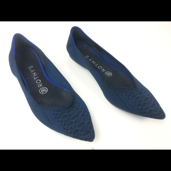 Rothys Deep Teal Python Pointed Ballet